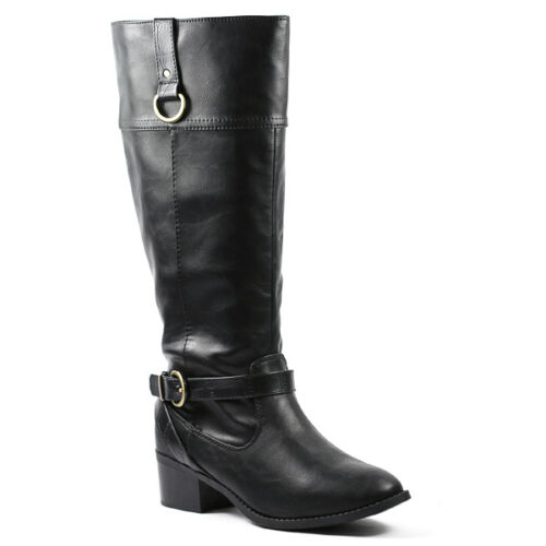 Black Faux Leather w Buckle Strap Zipper Riding Knee High Boots Soda Candice-s