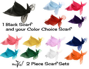Sheer Chiffon 50s Style 2 Piece Scarf Set - Black & Your Color Choice - Hey Viv