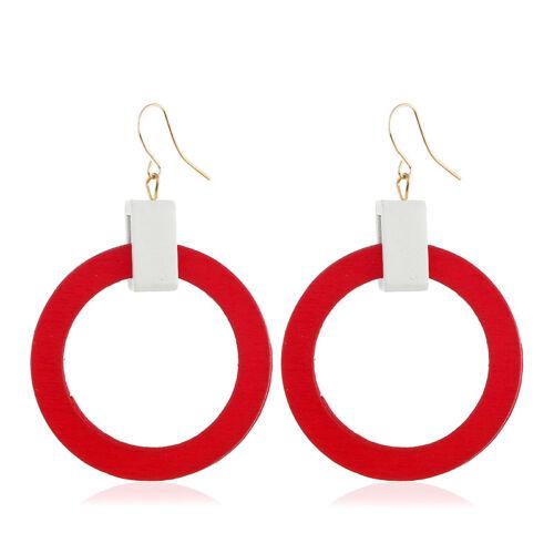 Femmes Round Circle Hoop Dangle Crochet Boucles D/'oreilles Goutte Fashion en BOIS BIJOUX