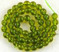 Cut 8mm Green Peridot Round  Faceted Gemstone Beads 15''