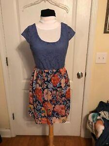 Womens-As-U-Wish-Spring-Floral-Mini-Short-Dress-SZ-S-Small-Blues-Oranges-Stretch