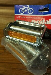 Vintage-1980-Wald-Inc-Bicycle-Pedals-9-16-034-Axle-Fits-Most-Imported-Bikes-New