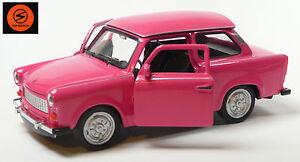 Trabi-Jubilaeum-2014-50-J-Trabant-601-Modellauto-11cm-WELLY-Sonderfarbe-pink