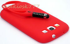 for samsung i9300 galaxy S3  phone red attached stylus case silicone //