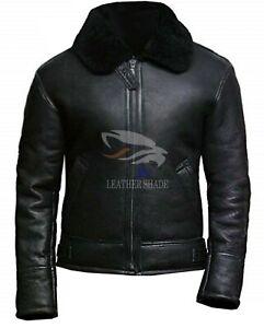 Jacket Black Real Aviator Zu Collar Cow Details Leather Shearling Mens Fur B3 Raf Bomber k0OnwP