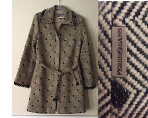 Gianfranco Ferre Vintage Wool Camel Geometric Aztec Woven Knit Coat Italy Large