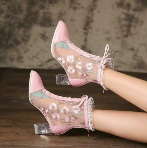 Details about  /2019 Summer New Sweet Lolita Women/'s Shoes Fashion Embroidery Mesh Ankle Boots a