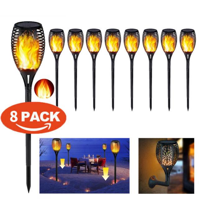 8Pack LED Solar Torch Light Control Dancing Flame Outdoor Waterproof Garden Lamp
