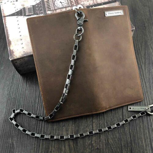 Men/'s Biker Crazy Horse Leather Long Chain Wallet Multi-card Coin Wallet Purse