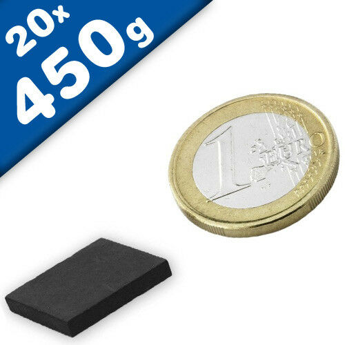 20 x Quadermagnet 20 x 20 x 3mm Ferrit Y35 hält 450g Keramik-Magnet-Quader
