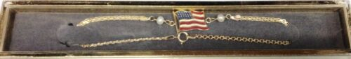 Brand New 14kt Solid Gold US FLAG Anklet Free Shipping!