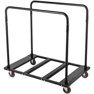Folding-Table-Cart-Table-Rack-Folding-Table-Cart-Black-Steel-Storage-Dolly