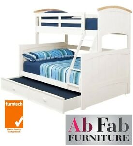 Bondi Ranch Single Double Timber Trio Bunk Bed Deluxe Trundle In