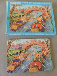 Vintage Spears Victory 7341 hand cut wooden Jigsaw characters log canoe race. 12