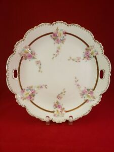 ANTIQUE-O-amp-F-G-ROYAL-AUSTRIA-PORCELAIN-CAKE-PLATE-PINK-amp-YELLOW-ROSES-GOLD-TRIM
