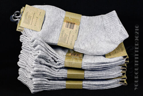 9-11 10-13 Quality Casual Cotton Spandex Ankle L.Gray Comfort Socks 3 6 12 Pairs