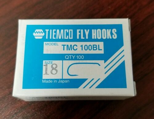 100 TIEMCO TMC 100BL BARBLESS HOOKS SIZE 18 WITH FREE SHIPPING