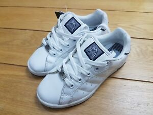 6585b87ae94c35 Lonsdale Leyton White & Navy Leather Lace-Up Trainers - UK Size 12 ...
