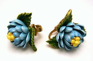 Vintage-Blue-Yellow-Enamel-Flowers-Earrings-Clip-Ons-Gold-Tone