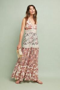 ee691aa91aa Image is loading NWT-ANTHROPOLOGIE-CABARET-FLORAL-MAXI-DRESS-by-RANNA-