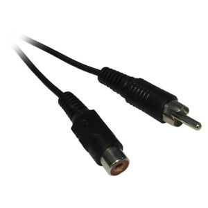 Black 3m Male Plug to Female Socket RCA Phono Extension Cable Lead Audio Video