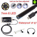 1M - 5M Android 6LED 7mm Lens Endoscope Waterproof Inspection Borescope Camera