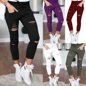 AU-Women-039-s-Skinny-Ripped-Denim-Pants-Stretch-Slim-Casual-Jeans-Pencil-Trousers
