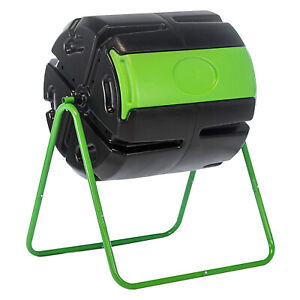 FCMP Outdoor HOTFROG Roto 37 Gal Plastic Rotating Tumbling Composter Compost Bin