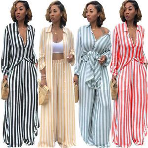 0e734b7570 Women Fashion 2 Piece Stripes Wide Leg Pants Set Long Shirt Cardigan ...