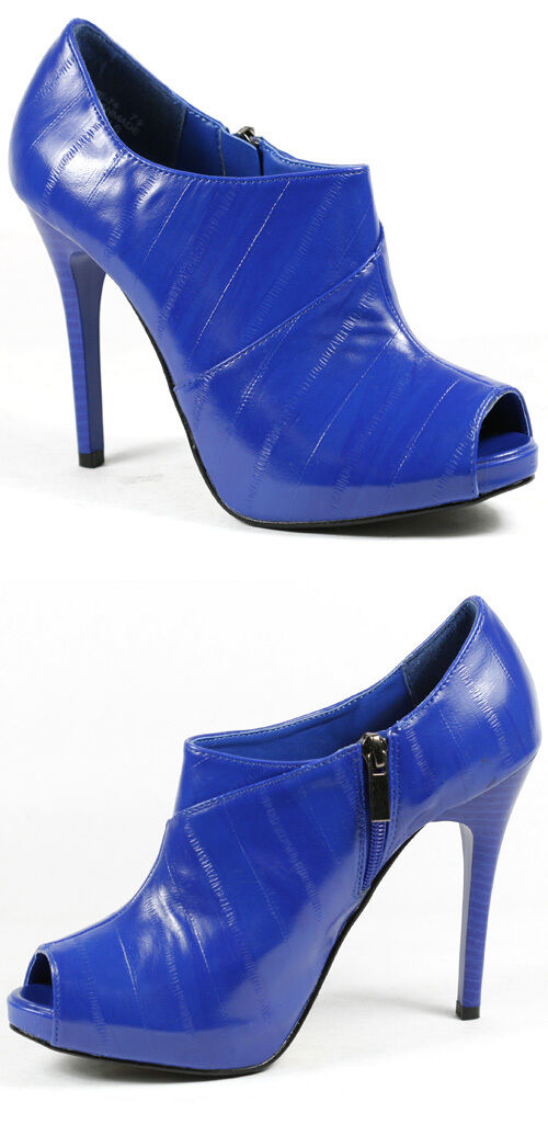 Royal Blue High Heel Open Toe w Side Zipper Platform Fashion Ankle Boot 7.5 us
