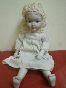 Antica Bambola Bambina Testa,Piedi in Porcellana con Vestito 36cm Antique Child