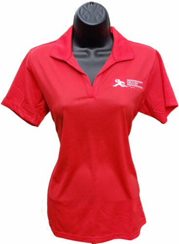 Uber Eats Grubhub Doordash Postmates Womens Delivery Shirt Red Polo Polyester