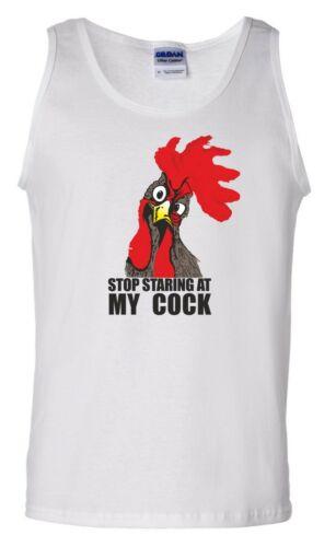 Stop Staring At My Cock Vest Joke Rude Offensive Chicken Lover Gift Men Tank Top