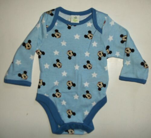 Baby Boys 2 Pack Disney Mickey Mouse Long Sleeve Bodysuits in Blue Multi Cotton