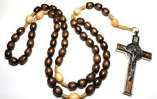 Big Men's Rosary With Medal & Cross of Saint Benedict Blessed by Pope Francis