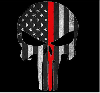 American Flag Punisher Skull Spartan Helmet Vinyl Decal Patriotic