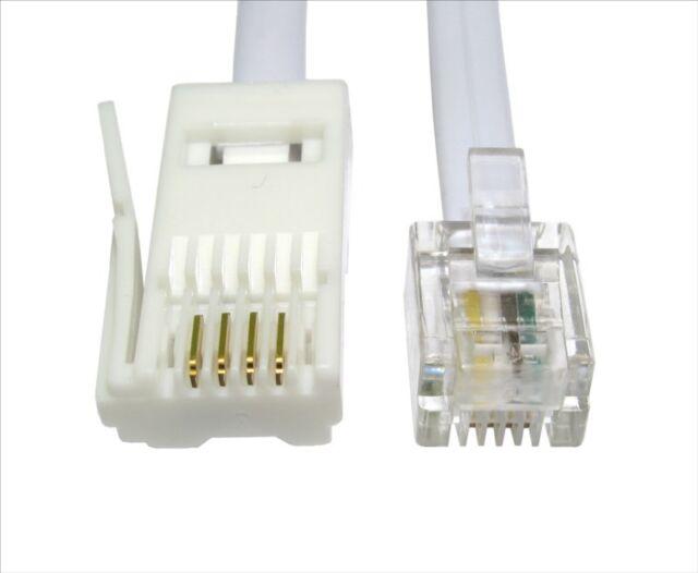 20m RJ11 A BT Cavo Presa modem fax telefono spina del 4 pin dritto