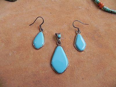 Turquoise & Sterling Silver Pendant & Earrings SET Navajo