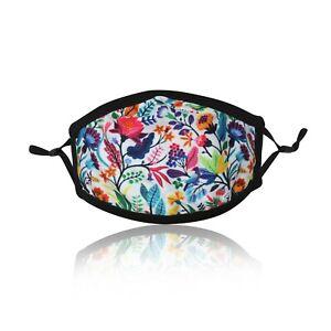 White-Flowers-Ladies-Cotton-Face-Mask-Washable-Reusable-Adjustable-Double-Layer