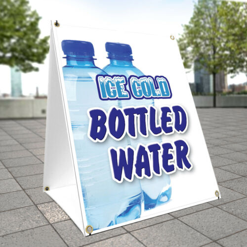 A-frame Sidewalk Sign Ice Cold Bottled Water Double Sided Graphics