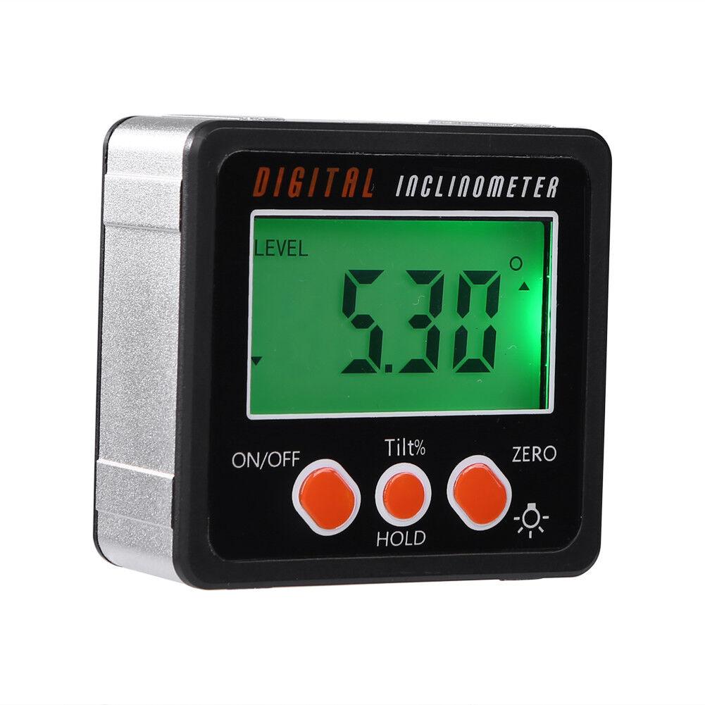 Digital Inclinometer Angle Finder Measuring Spirit Level Box LCD Display 4*90° 8