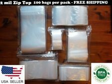 Clear Reclosable Zip Seal Lock Top Bags Plastic 2 Mil Jewelry Small Large Baggie