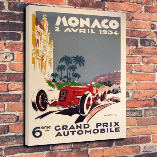 1934 Grand Prix de Monaco Printed Canvas Picture Multiple Sizes 30mm Deep Frame