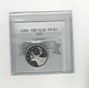 1987-Coin-Mart-Graded-Canadian-Twenty-Five-Cent-PF-67-UHC