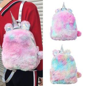 Girl-Fluffy-Unicorn-Backpack-Plush-School-Rucksack-Zipper-Bags-Pencil-Case-mie