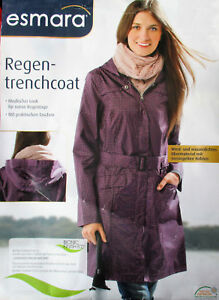 Damen Regen Trenchcoat Regenmantel Parka Regenjacke Schwarz