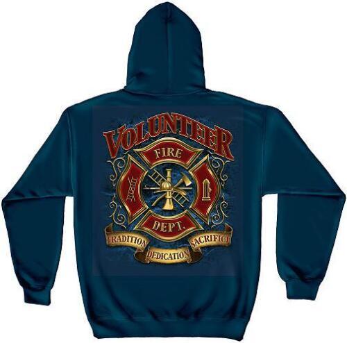 Volunteer Firefighter Blue Hooded Sweat Shirt