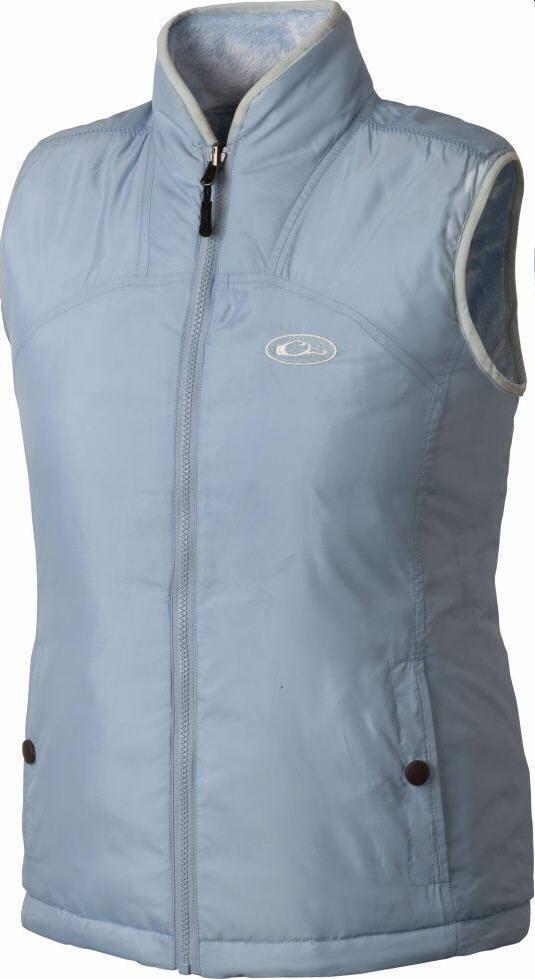 Drake Waterfowl DL3761PBL2L Ladies Cumulus Reversible Pale blue Vest Medium 20804