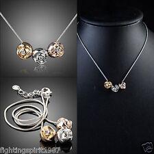 18K Gold Silber Halskette Swarovski Element 3 Rosen Geschenk Original Design 011