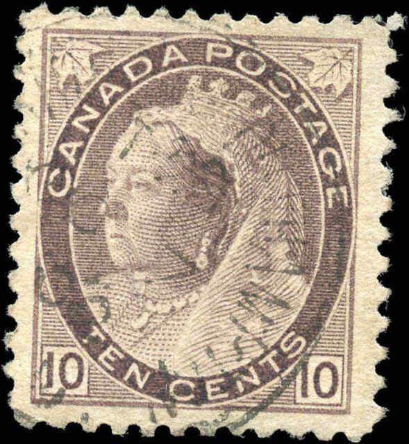 1898 Used Canada 10c F-VF Scott #83 Queen Victoria Numeral Stamp
